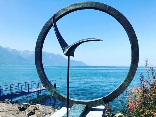 #journeemondialedelaphotographie   Vue Aquatique sur Montreux 📸  #nutrilys #sculpture #viemarine